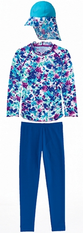 Turquoise Blossom Ruched Swim Shirt Outfit