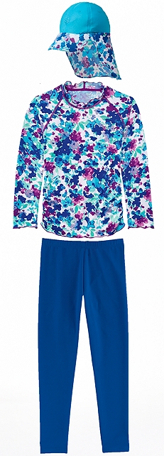 Turquoise Blossom Ruched Swim Shirt Outfit at Coolibar