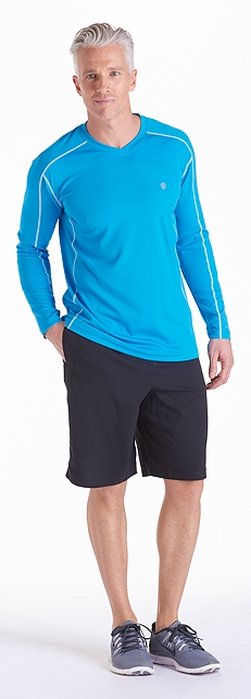Tempo Teal Cool Fitness Shirt Outfit at Coolibar