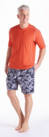 Men's Aqua T-Shirt & Island Swim Trunks Outfit