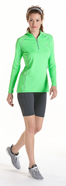 Mint Green Quarter Zip Fitness Pullover Outfit at Coolibar