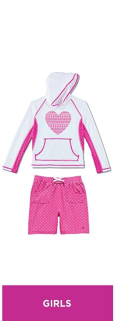 Hooded Swim Shirt & Beach Board Shorts Outfit at Coolibar