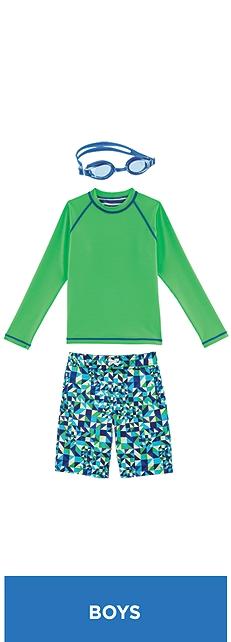 Reversible Rash Guard & Swim Trunks Outfit at Coolibar