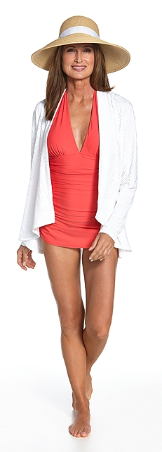 Ruche Halter Swimsuit Outfit at Coolibar