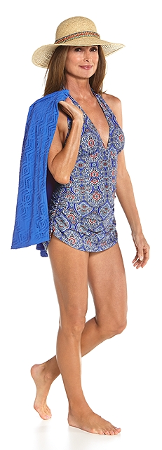 Ruche Halter Swimsuit Outfit