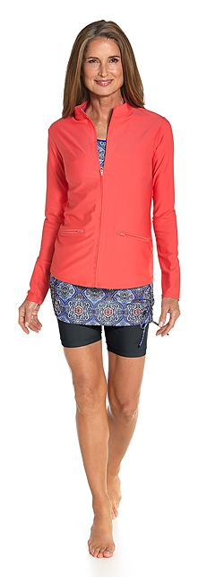 Swim Jacket & Skirted Swim Shorts Outfit