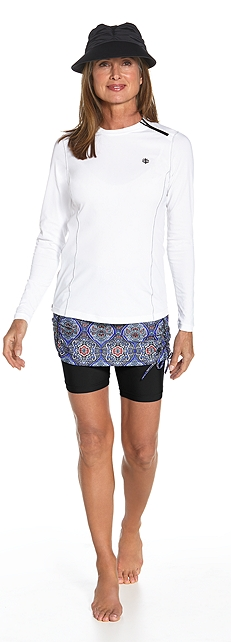 Hip Zip Rash Guard & Skirted Swim Shorts Outfit
