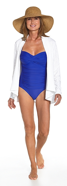 Ruche Bandeau Swimsuit Outfit at Coolibar