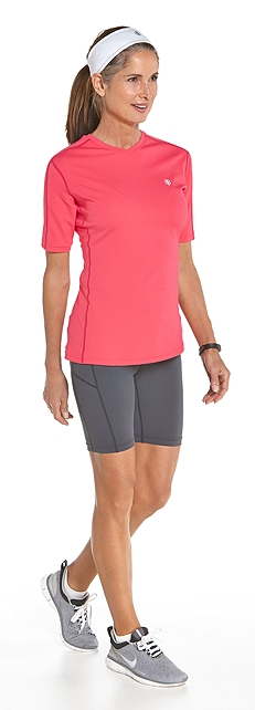 Short Sleeve Cool Fitness Shirt Outfit at Coolibar