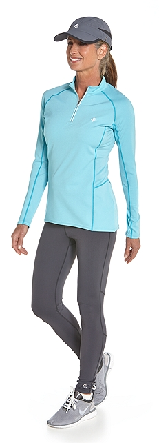 Cool Quarter-Zip Fitness Pullover Outfit at Coolibar