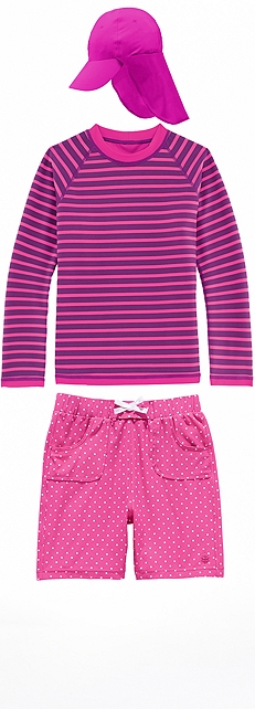 Girl's Reversible Rash Guard & Board Shorts Outfit