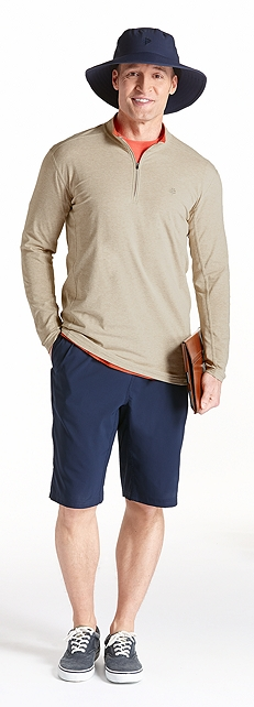 ZnO Summit Quarter Zip & Fitness Shorts Outfit at Coolibar