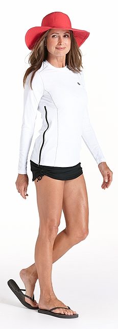 Hip Zip Rash Guard & Ruche Swim Bottom Outfit at Coolibar