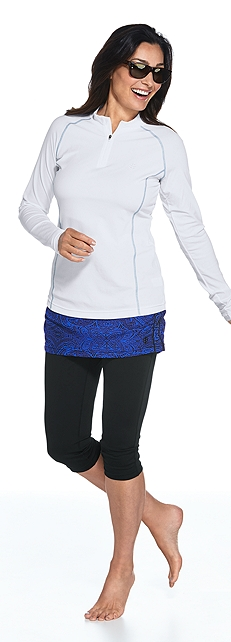 Long Sleeve Quarter-Zip Swim Shirt Outfit