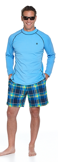 Long Sleeve Swim Shirt & Surf Swim Trunks Outfit at Coolibar