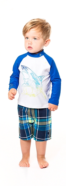 Rash Guard & Island Swim Trunks Outfit at Coolibar