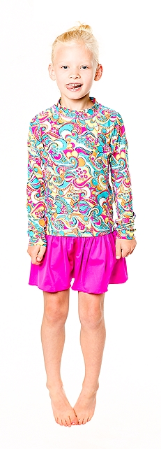 Long Sleeve Surf Shirt & Swim Skirt Outfit