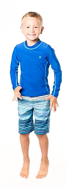 Long Sleeve Surf Shirt & Swim Trunks Outfit