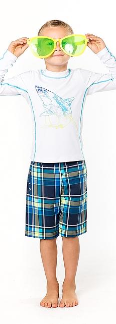 Long Sleeve Surf Shirt & Swim Trunks Outfit at Coolibar