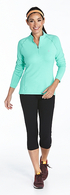 Quarter-Zip Pullover & Yoga Capris Outfit at Coolibar