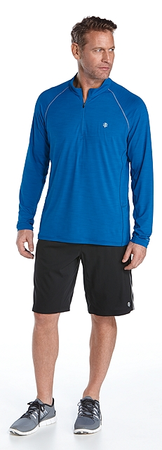 Quarter-Zip Pullover & Sport Shorts Outfit at Coolibar