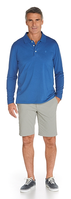 Long Sleeve Polo & Casual Shorts Outfit at Coolibar