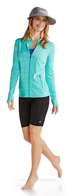 Zip Off Sun Visor & Active Swim Jacket Outfit at Coolibar