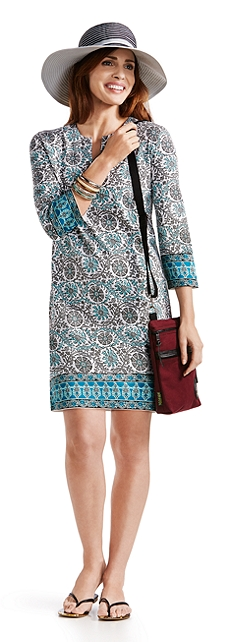 Ribbon Hat & Oceanside Tunic Dress Outfit at Coolibar