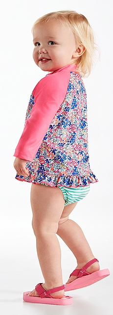 Baby Girl Ruffle Swim Shirt Outfit at Coolibar