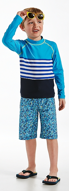 Color Block Rash Guard and Surf Swim Trunks Outfit at Coolibar