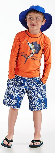 Boys Long Sleeve Surf Shirt & Swim Trunks Outfit