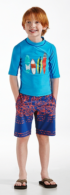 S/S Surfboard Surf Shirt & Swim Trunks Outfit