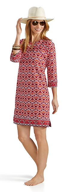 Oceanside Fedora & Tunic Dress Outfit at Coolibar