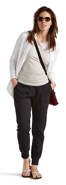 Open Cardigan W/ Basic Tank & Weekend Pants Outfit at Coolibar