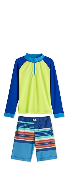 Zip Rash Guard & Island Swim Trunks Outfit at Coolibar