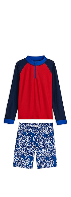 Zip Rash Guard & Swim Trunks Outfit