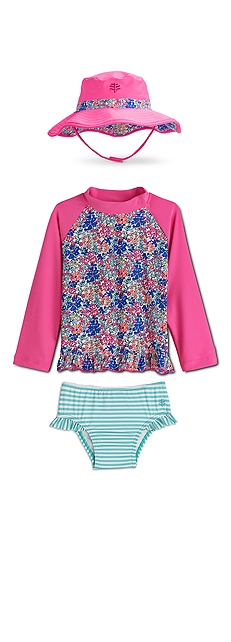 Ruffle Swim Shirt & Swim Diaper Cover Outfit at Coolibar