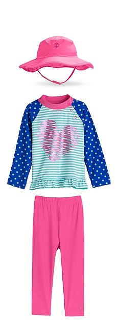 Splashy Bucket Hat & Ruffle Swim Shirt Outfit