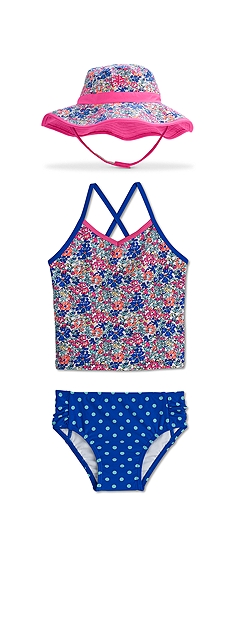 Reversible Bucket Hat & Tankini Swimsuit Outfit at Coolibar