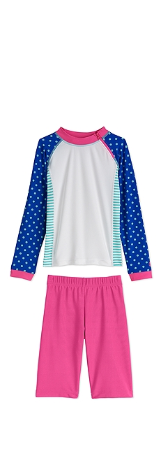 Zippy Rash Guard & Swim Shorts Outfit at Coolibar