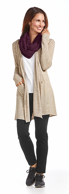 Merino Wool Open Front Cardigan Outfit at Coolibar