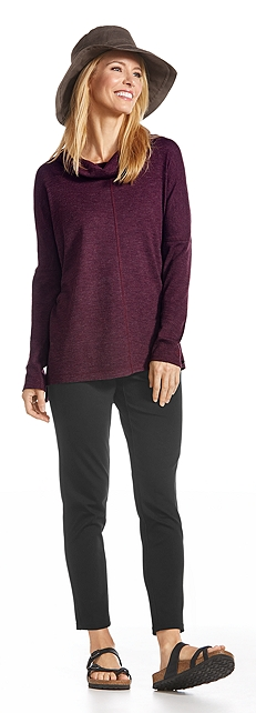 Merino Wool Cowl Neck Sweater Outfit at Coolibar