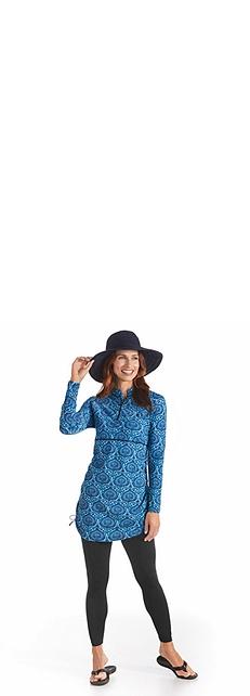 Ribbon Hat & Ruche Swim Shirt Outfit at Coolibar