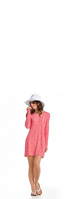 Ribbon Hat & Swim Cover-Up Dress Outfit at Coolibar