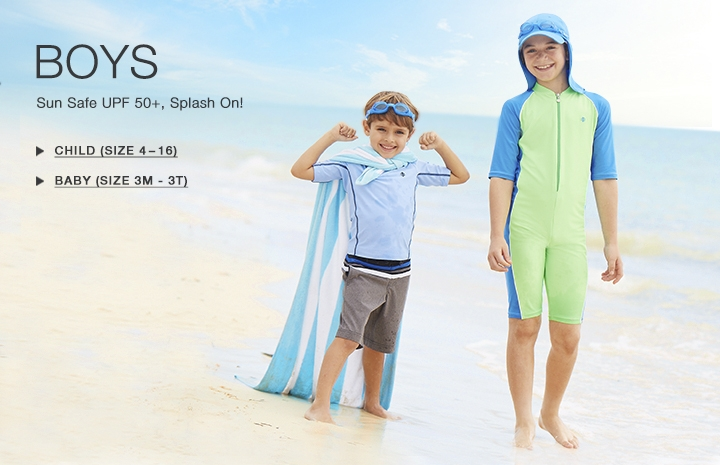 Boy's Sun Protective Swimwear and Clothing - The UPF 50+ Protection for Baby Boys, Toddlers, Kids and Teenagers