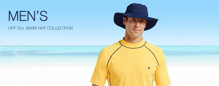 Men's Sun Protective Swimwear and Clothing - The UPF 50+ Protection for Men's Swim Caps, Hats and Headwear