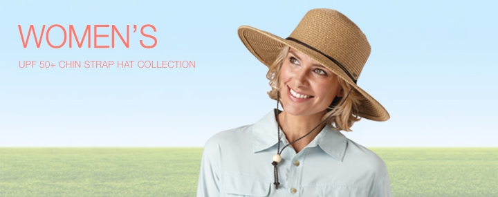Women's Sun Protective Hats, Swimwear and Clothing - Chin Strap Sun Hats with UPF 50+ Sun Protection