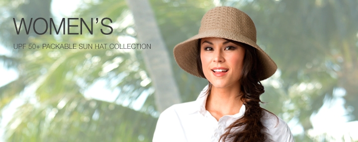 Women's Sun Protective Hats, Swimwear and Clothing - Packable Sun Hats with UPF 50+ Sun Protection