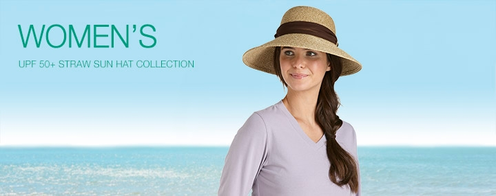 Women's Sun Protective Hats, Swimwear, and Clothing - Straw Sun Hats with UPF 50+ Sun Protection