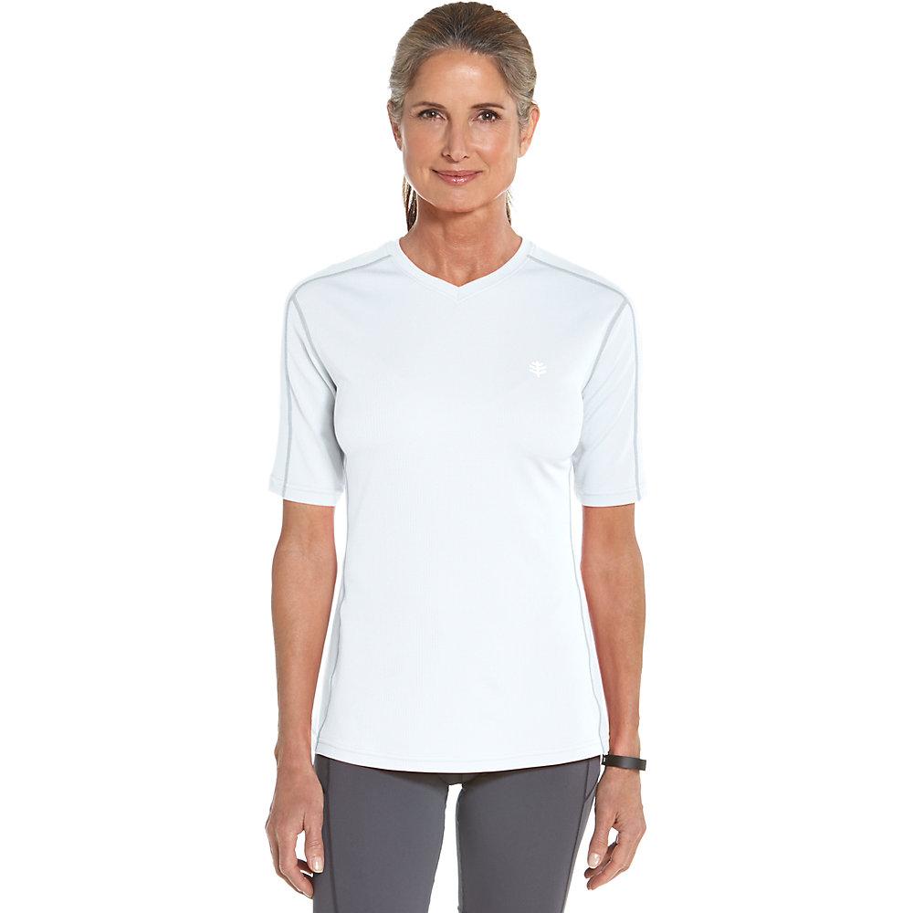 Coolibar upf 50 women 39 s short sleeve cool fitness shirt for Sun protection golf shirts